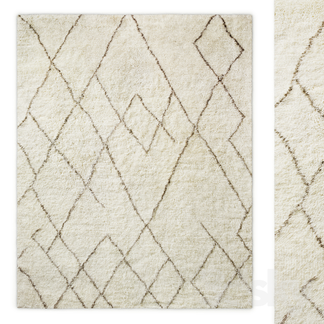 Lumina Sketched Hand-Knotted Wool Shag Rug RH