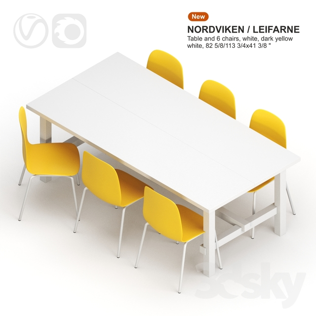 Peachy 3D Models Table Chair Ikea Nordviken Leifarne Table Gmtry Best Dining Table And Chair Ideas Images Gmtryco