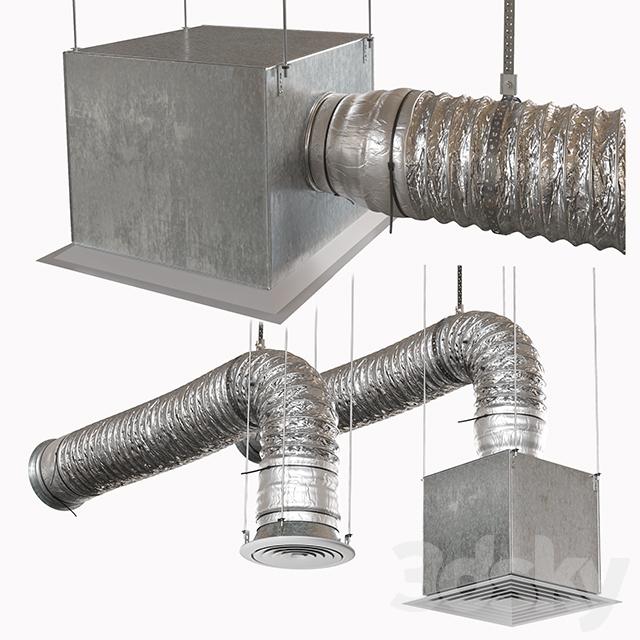 Corrugated ventilation pipe with diffuser