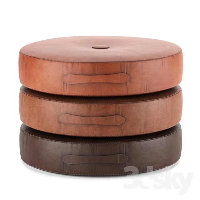 Saddle Color Leather Drum Stacking Cushion