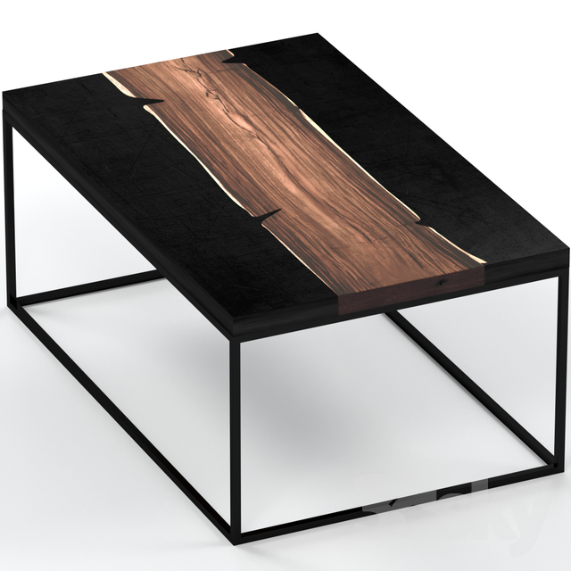 Coffee table made of slab and metal.