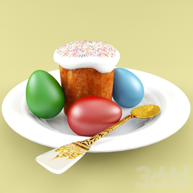 Кулич пасхальный с яйцами на тарелке
