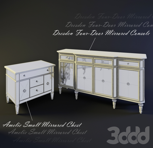 Консоль Dresden Four-Door Mirrored Console, тумба Amelie Small Mirrored Chest