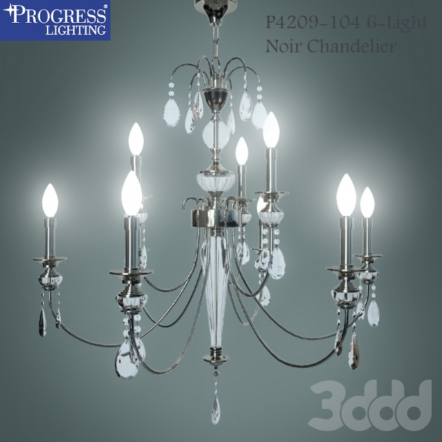 Progress Lighting P4209-104 6-Light Noir Chandelier, Polished Nickel