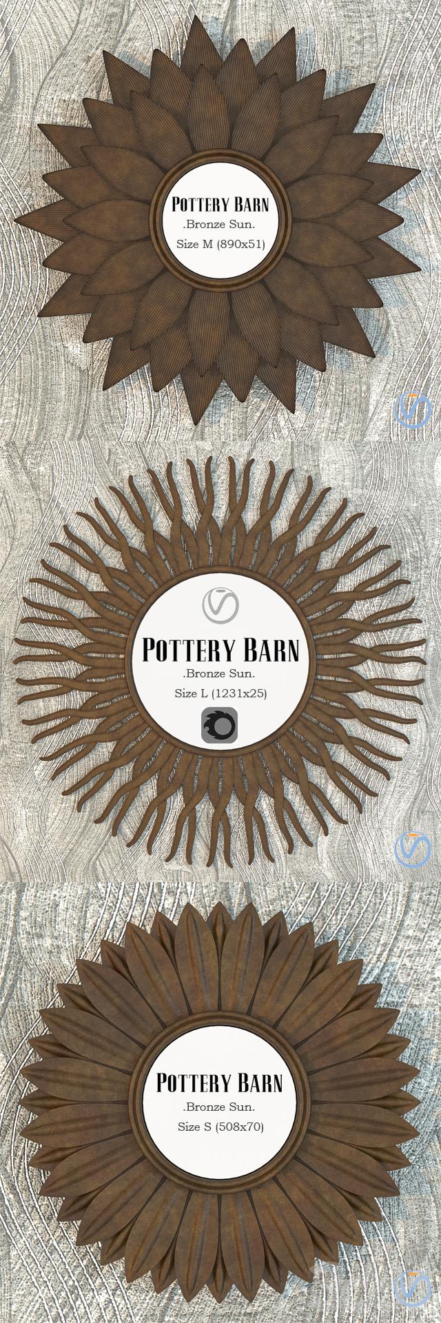 Pottery Barn Bronze Sun Mirror set