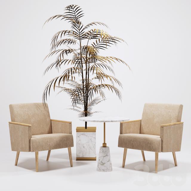 Кресла Jasper золотая пальма IVETE  и столик Arteriors