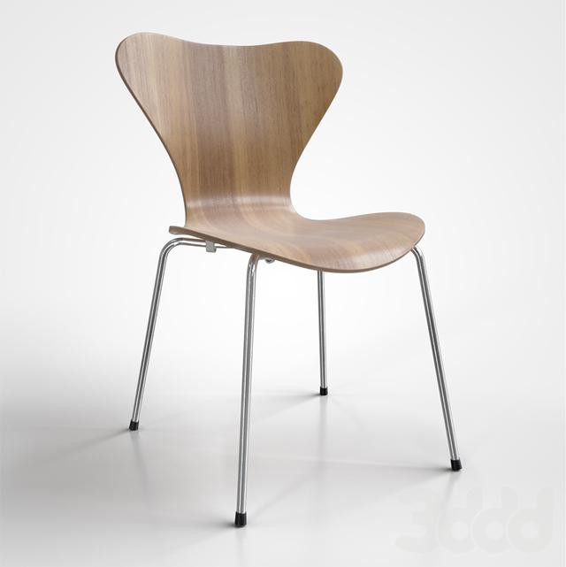 3d fritz hansen series 7 3107. Black Bedroom Furniture Sets. Home Design Ideas
