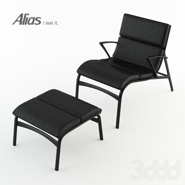 Кресло armframe soft 463 и подставка для ног feetframe soft 464 от Alias