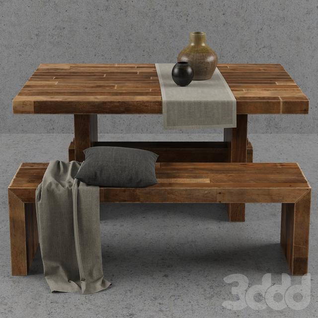 3d West Elm Emmerson Dining Table Set