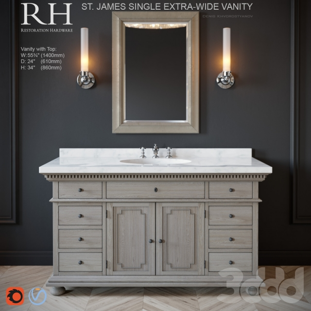 f09fd33efabb 3d модели  Мебель - St.James single extra-wide vanity