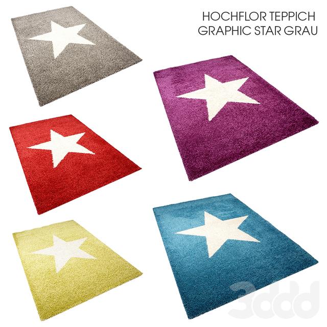 3d модели Ковры  Hochflor Teppich Graphic Star Grau