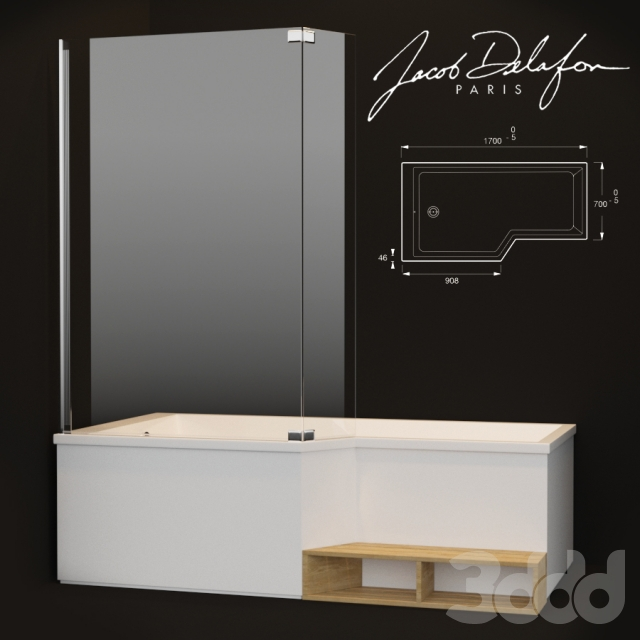 3d jacob delafon bain douche neo. Black Bedroom Furniture Sets. Home Design Ideas