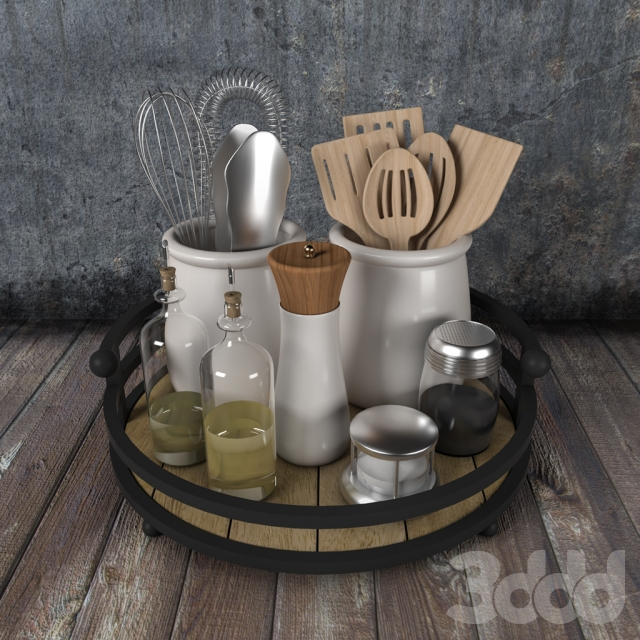 Stylish dishes spices and vegetable oil