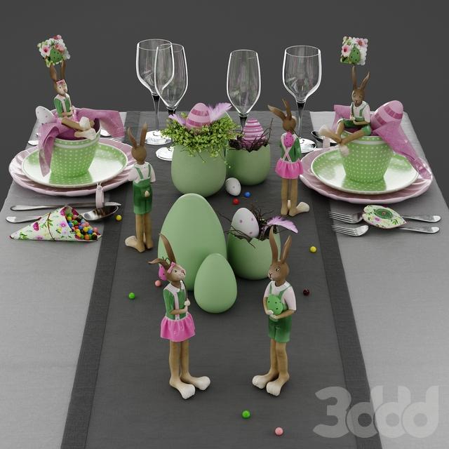 Пасхальная сервировка Funny Rose and Green Easter Table Decoration