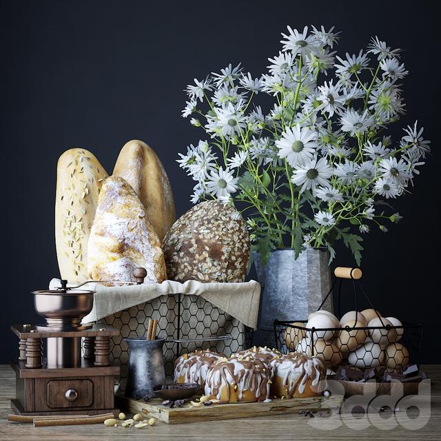 Кухонный набор с хлебом и синнабонами