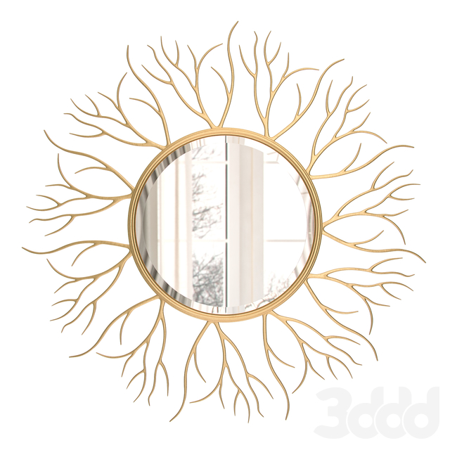 Large Round Golden Twig Mirror 110 cm