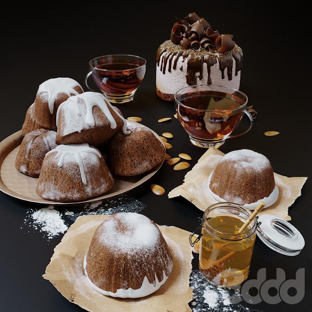 Кексы, мед и чай