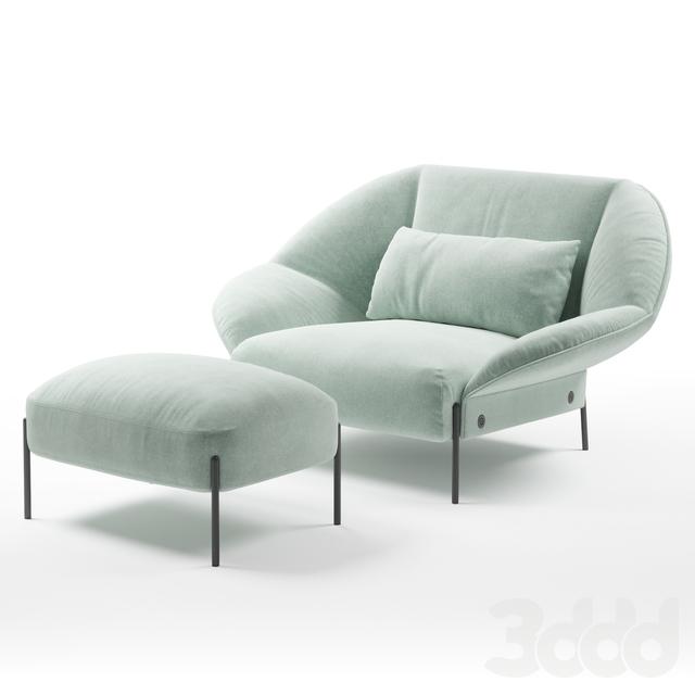 Ligne Roset Paipai armchair, footstool