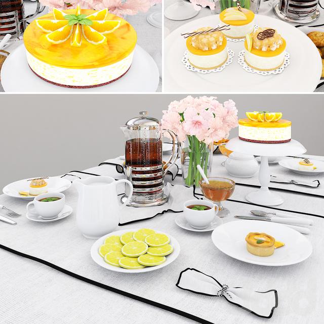 Tableware with orange cake