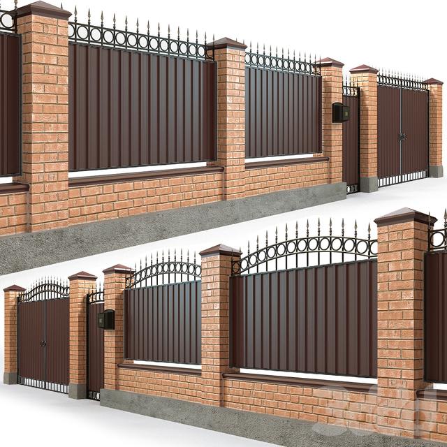 Забор с воротами и калиткой 5