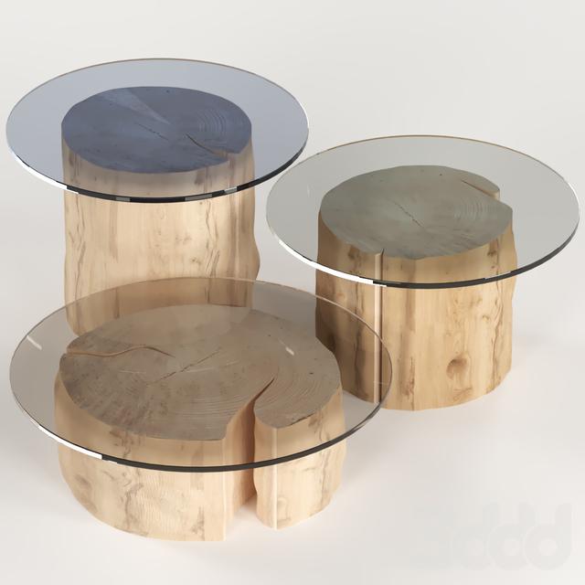 3 круглых журнальных столика из пней со стеклянной столешницей.