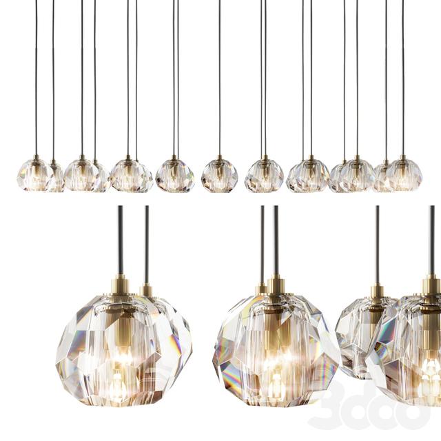 RH modern boule de cristal chandelier