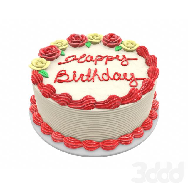 Birthday cake white and red