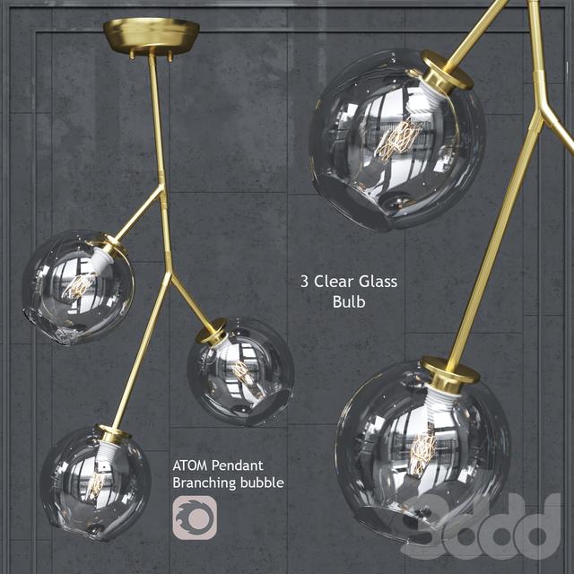 Подвесной светильник Nuevo Bulb chandelier Atom 3 Pendant Clear Glass Shade Gold Body