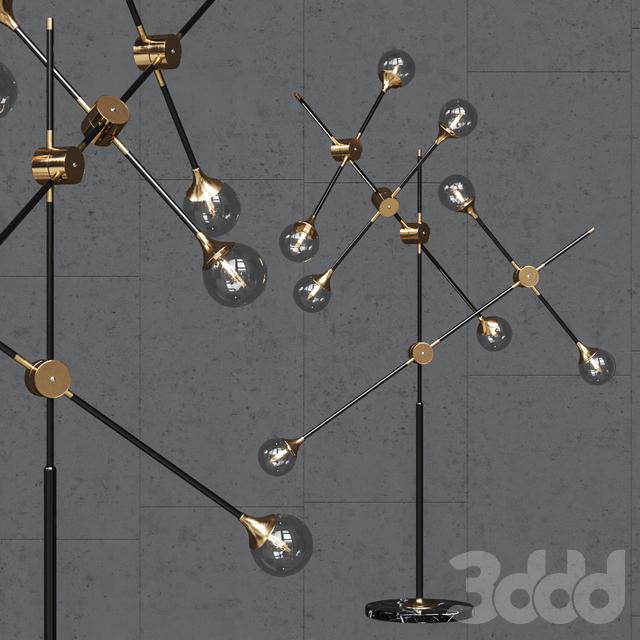 Торшер Baton FLOR LAMP black/gold 8 clear glass shades