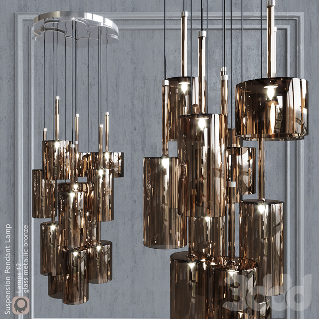 Подвесной светильник AXO Light Spillray SP lamps 12 metallic bronze glass