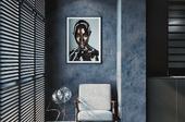 living room in dark colors