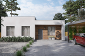 3D architectural visualzation of a one-story house