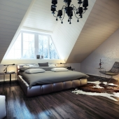 Спальня на мансардном этаже.