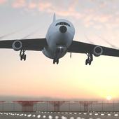 Посадка самолета ИЛ-86 на закате