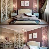 Спальня в мягких бургундских тонах