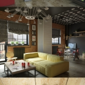 Гостиная-кухня с рабочим местом