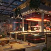 Основной зал ресторана с открытой кухней