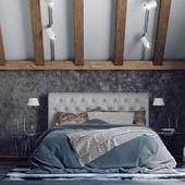 Спальня с косой крышей