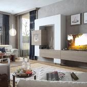 Living room, vray, гостиная, интерьер