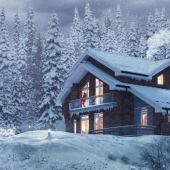 Winter house in the forest