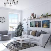 Новогодняя гостиная в скандинавском стиле.