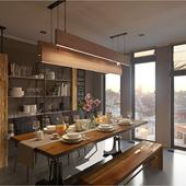 Кухня-столовая \ Loft  &  hi-tech design