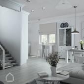 Дизайн проект загородного дома в Скандинавском стиле Кухня гостиная