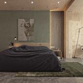 Plywood bedroom.