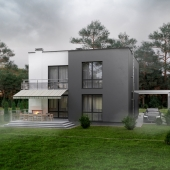 Exterior visualization of modern cottage