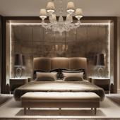 Визулизация спальни и ванной комнаты в бежевых тонах