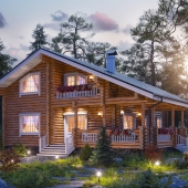 Визуализация дома из бревна