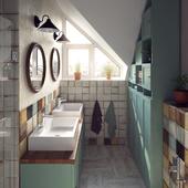 Ванная комната в усадебном доме в пос. Коцюбинское (Киевская обл.)