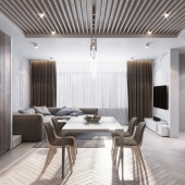 - Monohrome livingroom and kitchen -