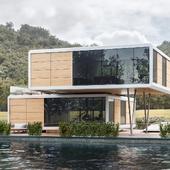 Проект двухэтажного дома на воде FloatingHome 900